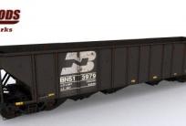 Bethlehem 100 ton 3483 cuft Quad Burlington Northern Open Hoppers Railworks Pack 1